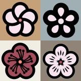 Símbolo del estampado de plores del flor del ciruelo Fotos de archivo libres de regalías