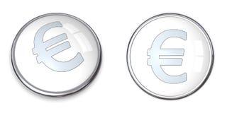 símbolo del euro del botón 3D Fotografía de archivo libre de regalías