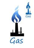 Símbolo del gas con el tubo y la llama azul ilustración del vector