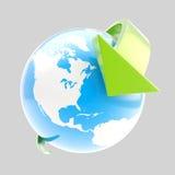 Símbolo del globo de la tierra con órbita de la flecha stock de ilustración