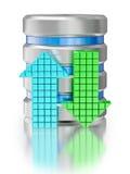 Símbolo del icono de la base de datos del almacenamiento de datos de la unidad de disco duro Imagen de archivo