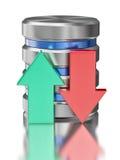Símbolo del icono de la base de datos del almacenamiento de datos de la unidad de disco duro Imágenes de archivo libres de regalías