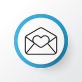 Símbolo del icono de la letra de amor Elemento superior del correo electrónico del saludo de la calidad en estilo de moda Fotografía de archivo libre de regalías
