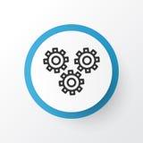 Símbolo del icono de las ruedas dentadas El mecanismo superior de la calidad parte el elemento en estilo de moda ilustración del vector