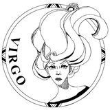 Símbolo del lineart del zodiaco del virgo libre illustration