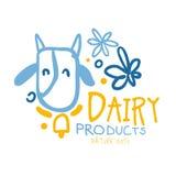 Símbolo del logotipo de los productos lácteos Ejemplo dibujado mano colorida stock de ilustración