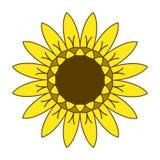 Símbolo del logotipo del girasol que cultiva un huerto, diseño plano del estilo del icono, vector Foto de archivo