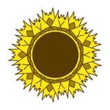 Símbolo del logotipo del girasol que cultiva un huerto, diseño plano del estilo del icono, vector Fotografía de archivo