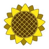 Símbolo del logotipo del girasol que cultiva un huerto, diseño plano del estilo del icono, vector Imagenes de archivo