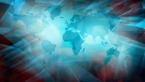 Símbolo del mapa del mundo, concepto de la abertura de las noticias de la TV