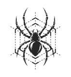 Símbolo del monocromo de la araña y del web Fotografía de archivo