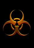 Símbolo del oro de Biohazard Imágenes de archivo libres de regalías
