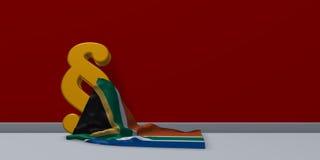 Símbolo del párrafo y bandera de Suráfrica Fotografía de archivo