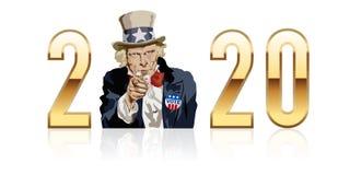 Símbolo del patriotismo con el tío Sam que impulsa a americanos votar ilustración del vector