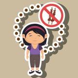 símbolo del peligro de los alimentos de preparación rápida de la muchacha del niño de la historieta Fotos de archivo
