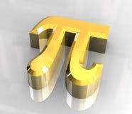 Símbolo del pi en el oro (3d) Fotos de archivo