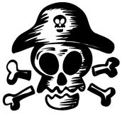 Símbolo del pirata con el sombrero que lleva del cráneo stock de ilustración