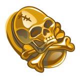 Símbolo del pirata del oro bajo la forma de cráneo humano y bandera pirata aislados en el fondo blanco Primer de la historieta de libre illustration