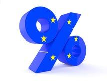 Símbolo del por ciento con la bandera de unión europea ilustración del vector
