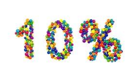 símbolo del 10 por ciento en esferas multicoloras Imagenes de archivo