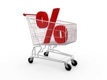 Símbolo del porcentaje en carro de la compra Imagen de archivo
