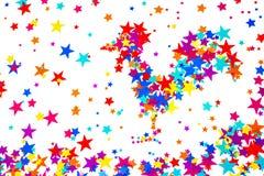 Símbolo del primer del gallo 2017, construido de estrellas coloridas, en un w Foto de archivo libre de regalías