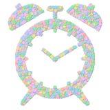 Símbolo del reloj de alarma aislado en blanco Foto de archivo