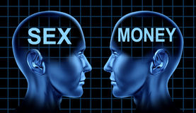 Símbolo del sexo y del dinero Imagenes de archivo