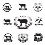 Símbolo del sihouette del carne de vaca para el sello del logotipo, elemento del diseño Foto de archivo