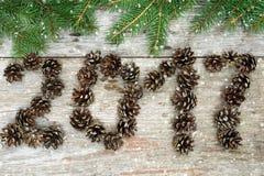 Símbolo del suspiro de los conos 2017 del pino en textura de madera del viejo vintage retro Fotos de archivo
