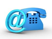 Símbolo del teléfono y símbolo del email Foto de archivo libre de regalías