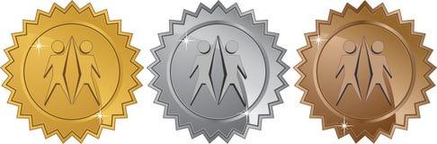 Símbolo del trabajo en equipo - conjunto de 3 sellos Imagen de archivo libre de regalías