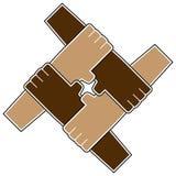 Símbolo del trabajo en equipo de cuatro manos Imagen de archivo