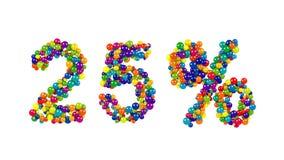 Símbolo del veinticinco por ciento en bolas vivas coloridas Fotografía de archivo libre de regalías
