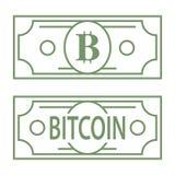 Símbolo del verde de la letra de Bitcoin B diseñado como billete de banco del dólar, línea ejemplo del icono del diseño Imagenes de archivo