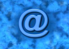 Símbolo del Web del email @ y antecedentes azules Fotos de archivo