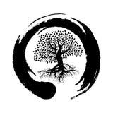 Símbolo del zen y árbol de la vida Imágenes de archivo libres de regalías