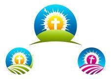 Símbolo, diseño del logotipo del crucifijo e icono religiosos cruzados Fotos de archivo