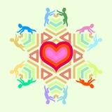 Símbolo do amor e da unidade com ícones da estrela e dos povos do coração Imagem de Stock Royalty Free