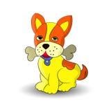 Símbolo do ano novo 2018, cães amarelos que guardam um osso nos dentes, desenhos animados em um fundo branco Imagem de Stock Royalty Free