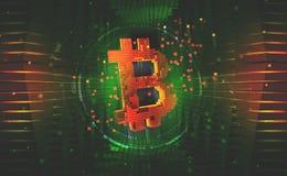 símbolo do bitcoin Conceito da mineração do cryptocurrency imagens de stock