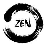 Símbolo do círculo da pincelada do zen com zen da palavra Fotos de Stock Royalty Free