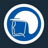 Símbolo do capacete de segurança do desgaste no fundo preto, llustration do vetor ilustração do vetor