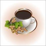Símbolo do chá com corinto branco ilustração do vetor