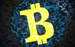 Símbolo do close up do cryptocurrency de Bitcoin ilustração stock