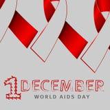 Símbolo do conceito do dia do SIDA dos mundos de dezembro com texto e a fita vermelha da conscientização dos auxílios e com a sil ilustração stock