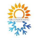 Símbolo do condicionamento de ar com as ondas vermelhas e do azul ilustração stock
