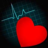 Símbolo do coração com pulsação do coração Fotos de Stock