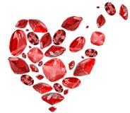 Símbolo do coração de Broren das gemas vermelhas do rubi no branco Fotografia de Stock