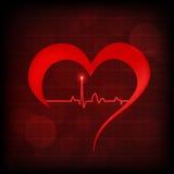 Símbolo do coração e da pulsação do coração Fotografia de Stock